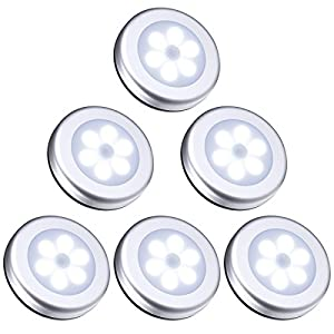 ORIA Nachtlicht mit Bewegungsmelder, 6 LED Bewegungsmelder Licht Schranklicht, Indoor NachtLicht Schrankbeleuchtung, Auto EIN/AUS Licht Sensor Licht Für Flur, Treppen, Bad, Schlafzimmer, Küche -Weiß