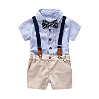 Boys Clothing Sets, SHOBDW Kids Baby Birthday Gifts Gentleman Bowtie Short Sleeve T-Shirt Romper + Overall Shorts Summer Party Outfits (24-36 Months, Blue)