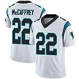 Rugby Fan T-Shirts Football Maillot NO.22 Mccaffrey pour Sports À Manches Courtes V-Cou Tee Cadeaux De Football Américain Passionné,Blanc,M