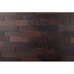 Wodewa Wengué - Madera auténtica para paneles de pared madera, revestimiento de paredes interiores (apariencia 3D, 200 x 50 cm)
