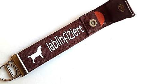 Labrador Retriever - Schlüsselband mit Einkaufschip / Chip Schlüsselanhänger für: Labrador Retriever Liebhaber - Geschenk für Hundebesitzer, Hund: labiinfiziert