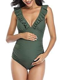 Mujer Trajes de baño Una Pieza para premamá Ropa de baño Impresión de Rayas Volante Fruncido Ropa de Playa Embarazada