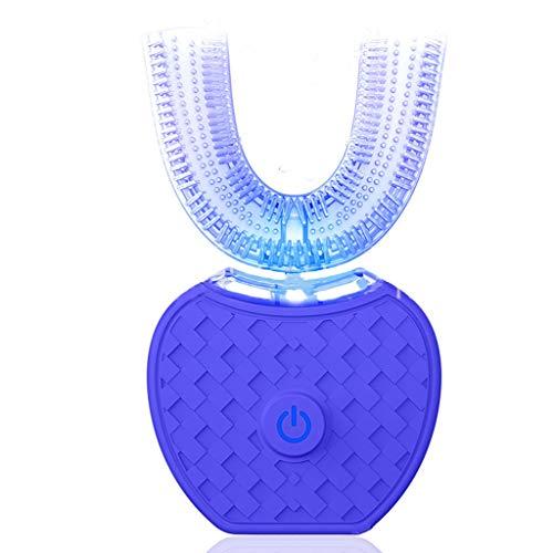 Iash Tooth Cleaner Cepillo de Dientes eléctrico por ultrasonidos Dientes automáticos Que blanquean 360 Grados con el Tipo U Cepillo de Dientes Dientes Veganos IPX7 a Prueba de Agua,Blue