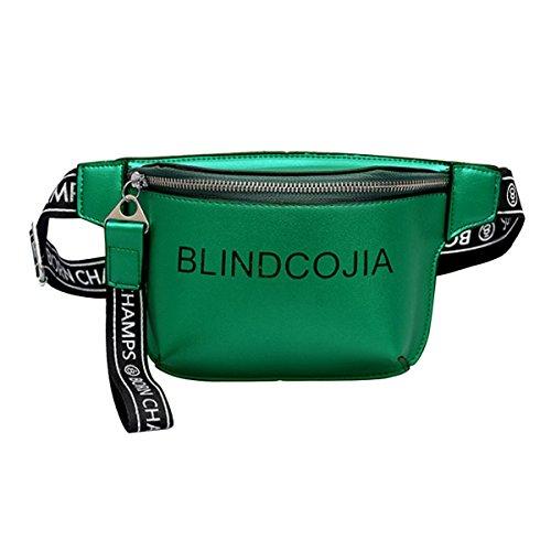 AiSi Buchstaben-Muster Taillenbeutel Hüfttasche Bauchtasche Verstellbaren Riemen aus PU Kunstleder für Damen (Grün Mode)