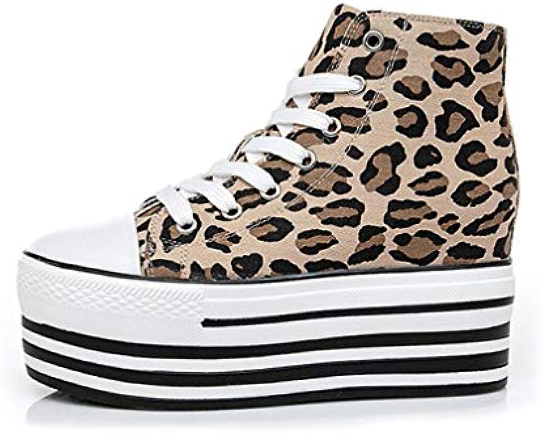 YAN Chaussures de Femmes Toile Haut-Top Haut-Top Toile Chaussures Casual Lacets Chaussures de Pont Invisible surélever Chaussures... 649236