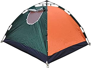 Inditradition 4 Person Camping & Hiking Pop-up Tent | Automatic, 01 Minute Setup | with Floor Mat & Carry Bag (Assorted Color)