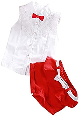 SMARTLADY Niña Princesa de encaje bowknot Blusa Tops+ Pantalones cortos
