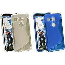 Emartbuy® LG Nexus 5X Ultrafina a Presión TPU Gel Funda Carcasa Case Cover Paquete de 2 - Azul & Claro