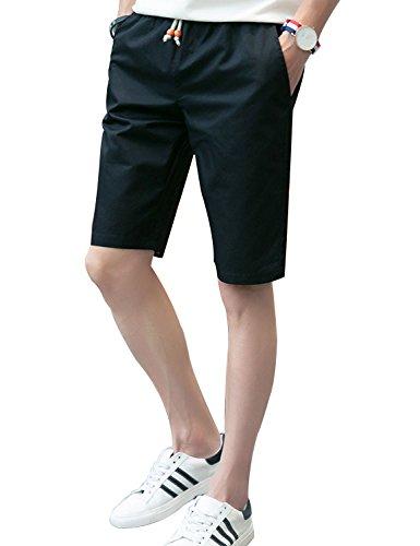 Feicuan Männer Chino Shorts Kordelzug Baumwolle Bequeme Klassische Flat Front Strand Kurze Hosen -