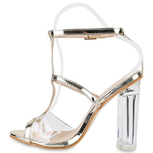 Damen Sandaletten Blockabsatz High Heels Zierperlen Schuhe Gold Lack