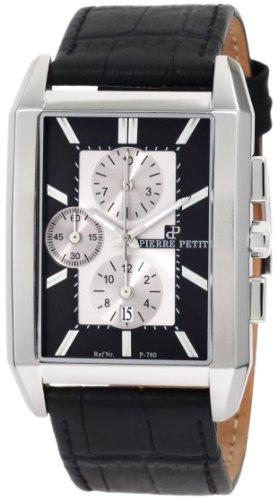 Pierre Petit - P-780A - Montre Homme - Quartz Chronographe - Chronomètre - Bracelet Cuir Noir