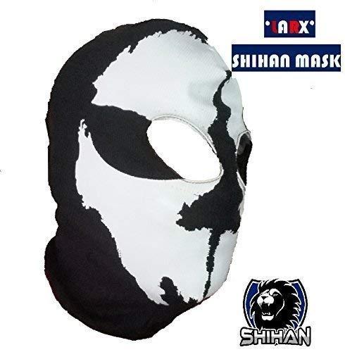 'LARX'2 fori, in lana, per travestimento Ninja Costume da 1, misura Senior, passamontagna, Maschera da teschio fantasma moto Casco da sci a collo alto con cappuccio Sport-Maschera Halloween Horror