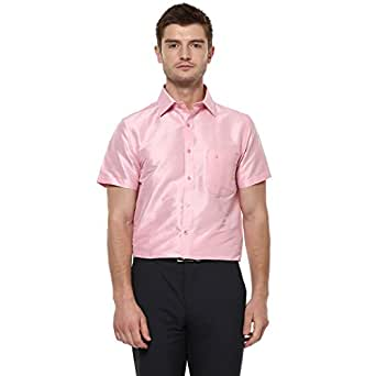 Khoday Williams Men's Baby Pink Poly Silk Solid Regular Fit Shirt(5000042-BABYPINK-38)