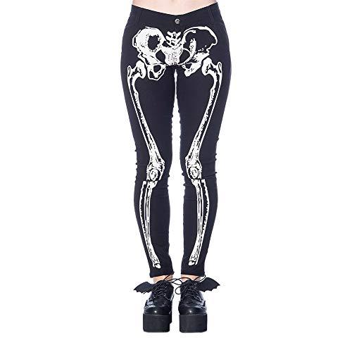 Banned Pantalon Ajustado diseño Huesos Esqueleto Skin and Bones Trouser TR4102 (S)