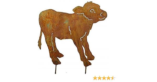 Kalb Kälbchen Metall Edelrost auf Stab Gartendeko Stecker Gartenstecker Kuh