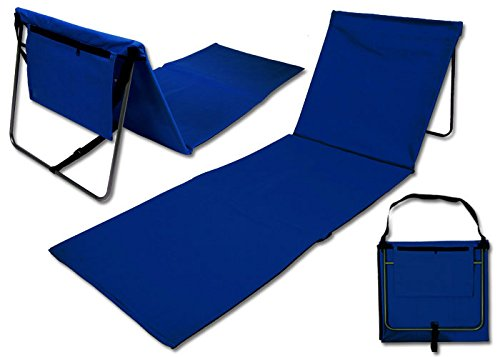 Team 101 faltbare Strandmatte Strandliege Beach Mat mit Rückenlehne blau