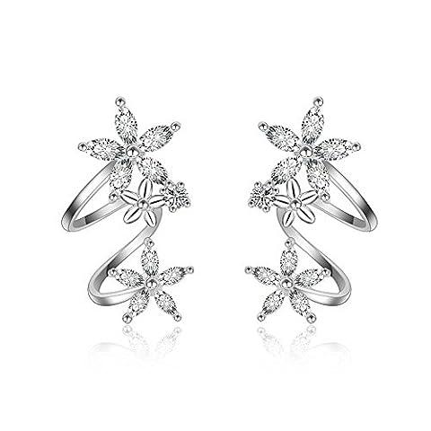 925 Sterling Silber Ohrstecker Ear Cuff Blume Ohrringe für Frauen