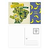 Welcom Brasilien Sommer Fußball Banana Postkarten-Set, Danksagungskarte, Postkarte, Postkarte, 20 Stück
