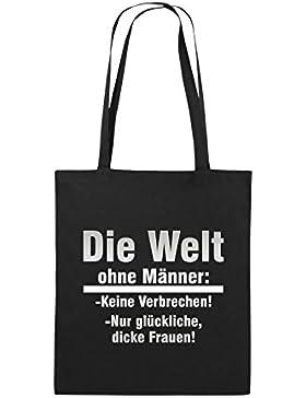 Comedy Bags - Die Welt ohne Männer - keine Verbrechen nur dicke Frauen - Jutebeutel bedruckt, Baumwolltasche zwei...