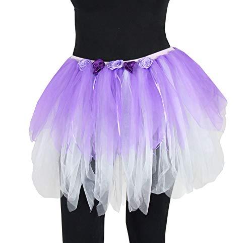 Tanz Schnellversand Kostüm - Foxxeo Deluxe Petticoat Tüllrock Tutu mit Blumen lila Tanz Party Ballett Fasching Kostüm