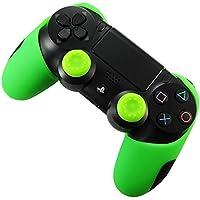 DOTBUY Silicone Case Denso Metà Custodia Protettiva per PS4 x 1 + 2 Controller analogico puntina manopole Cap (Green)