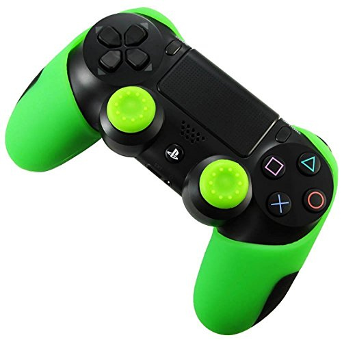 DOTBUY Flexible silicona protectora caso grueso mitad para Sony PS4 Game controlador x 1 + 1 Pairs of Replacement Joystick Thumbstick Caps