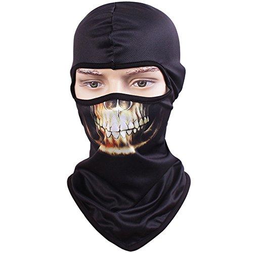 Tclian maschera con teschio, passamontagna, bandana con scheletro/fantasma da motociclismo, passamontagna intero, maschera di protezione contro i raggi uv ad asciugatura rapida, traspirante, maschera tattica, militare, per softair, paintball, halloween, skull-04
