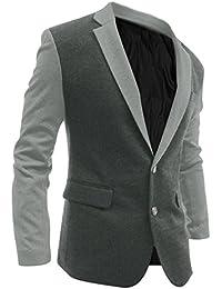 Hommes Contraste Couleur Veste Droite Verticale Poches Dos Fendu Blazer