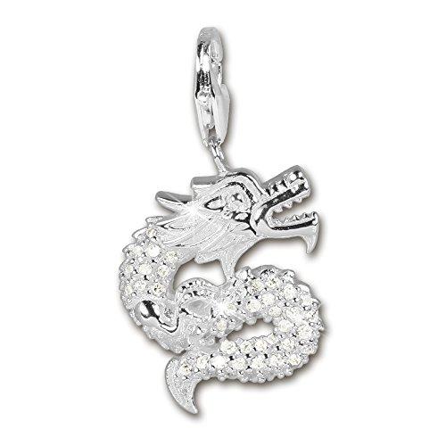 SilberDream 925 Sterling Silber Charm Drache Zirkonia weiß Anhänger für Armband Kette Ohrring FC220W (Drache Charm-armband)