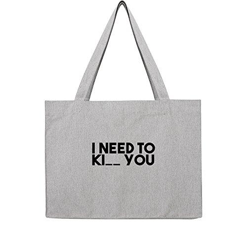 I need Ki__ you Bag Frauen Shopper grau Jute Beutel Handtasche Strand Sommer faltbar groß bedruckt mit Motiv (369-U762-Grau) (Sonnenbrille Leder Kors Michael)