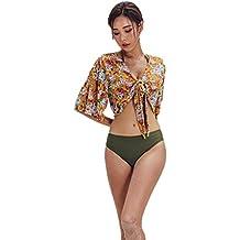6cfc47da79 NINGNETI Mujeres Sexy Conjunto De 3 Piezas Vendaje Bikini SóLido Vestido De  BañO con Estampado Coreano