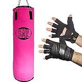 BAY® Boxset PINK Sandsack 130x35 cm mit TOUCH schwarz Größe XXL Handschuhe