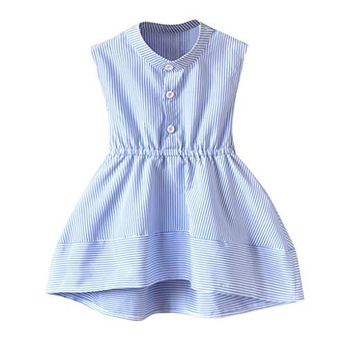 JUTOO Neugeborenes Kleinkind Kinder Baby Mädchen Sommerkleid ärmellose Streifen Party Prinzessin Kleider ()