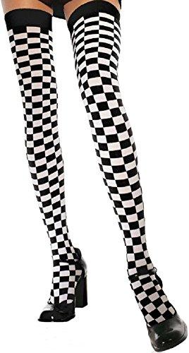 Leg Avenue Damen halterlose Strümpfe schwarz weiß kariert Einheitsgröße ca. 38 bis 40