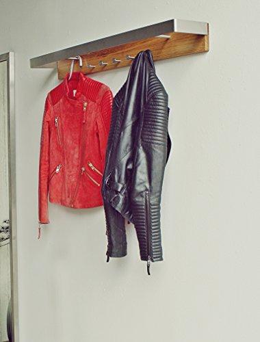 Spinder Design Noa 2 Wandgarderobe / Garderobe -  9x87x16 cm - 5 Haken - Edelstahl/Eiche