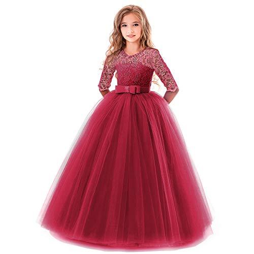 OBEEII Bambina Vestito Principessa in Pizzo Manica Mezza Abbigliamento Bambine Invernale Eleganti Abito Principessa de Festa Cerimonia Sposa Sera per Ragazza 2-3 Anni Rosso