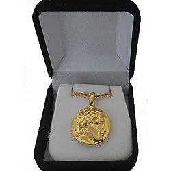 Moneda Colgante y Cadena Apollo y la Lira, Dios de la Sol y Hijo de Zeus