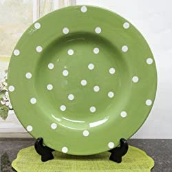 Polka Dots Serving Platter Color: Green