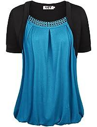 DJT T-shirt Femme manches courtes Tops 2 en 1 crochet elastique
