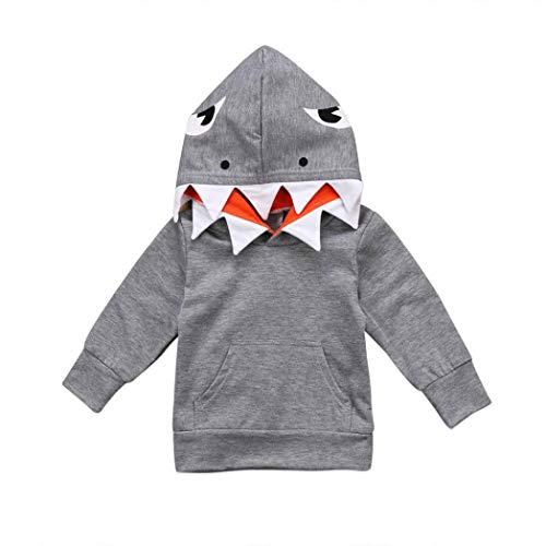 LoveLeiter Der Lange Hülsen-Haifisch-Cartoon-SpitzenHoodie der Kinder Kleidung + -