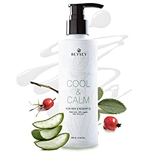 Crema Corporal de Aloe Vera con Aceite de Rosa de Mosqueta – Hidratante/Aftersun/Post Depilación – Refrescante/Calmante…