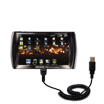 Aufgewickeltes USB-Kabel kompatibel mit Archos 48 Internet Tablet mit den Funktionen Datentransfer und Aufladen Verwendet die TipExchange Technologie