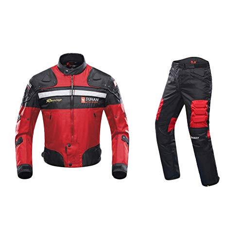 ANTLEP Motorradkombi Jacke Wasserdichtes Textil Hose 2 Stück Klage CE gepanzerte Kleidung für alle Wetter,Red,L -