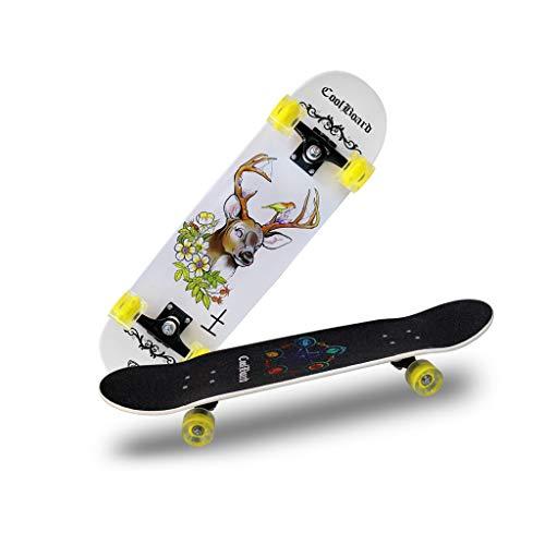 HXGL-Skateboards Rueda De Destello Cepillo Doble Balancín Viaje En La Calle Scooter De Cuatro Ruedas Principiante Jóvenes Niños Chicas Niños Monopatín - Ciervo (Color : White)