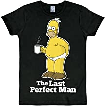 "Los Simpson - Homer - camiseta ""The last perfect man"" - de marca y gran calidad - ajustada - negra"