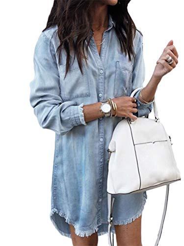 Shallgood vestito da camicia jeans maglia maglietta bordo vestito abito da donna eleganti estivi corti manica lunga casuale ufficio abiti mini dress blu it 42