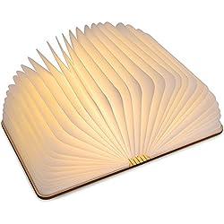 LEDGLE Lámpara en forma de Libro Plegable de Madera de Noche de Mesilla de Luz Suave de Color Cálido