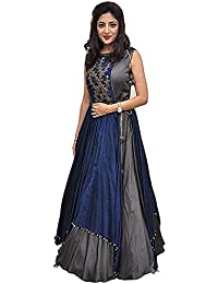Aracruz Women's Clothing Ethnic Gowns For Party Wear Designer Blue Banglori Silk Embroidery Semi Stitched Gown...