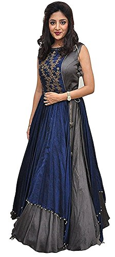 Aracruz Women's Clothing Ethnic Gowns For Party Wear Designer Grey Blue Banglori...