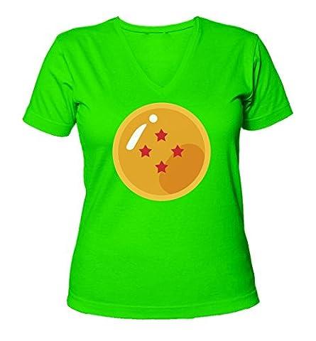 Four Star Dragon Ball Graphic Design Women's V-Neck T-Shirt X-Large